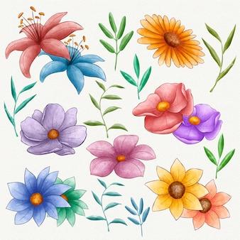 Zestaw ręcznie malowanych pięknych kwiatów