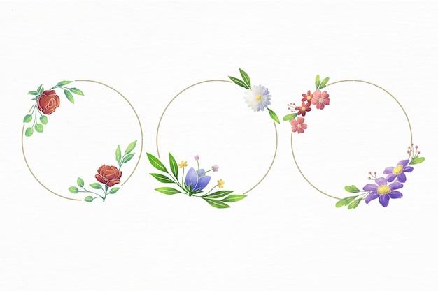 Zestaw Ręcznie Malowanych Ramek Akwarela Kwiatowy Darmowych Wektorów