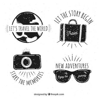 Zestaw ręcznie narysowanych logo podróży
