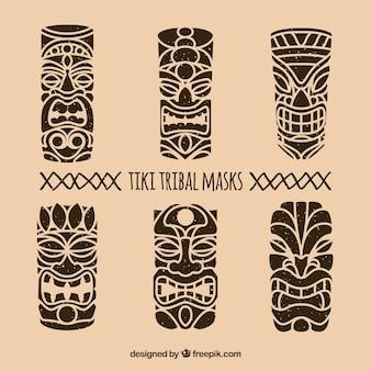 Zestaw ręcznie narysowanych masek plemiennych