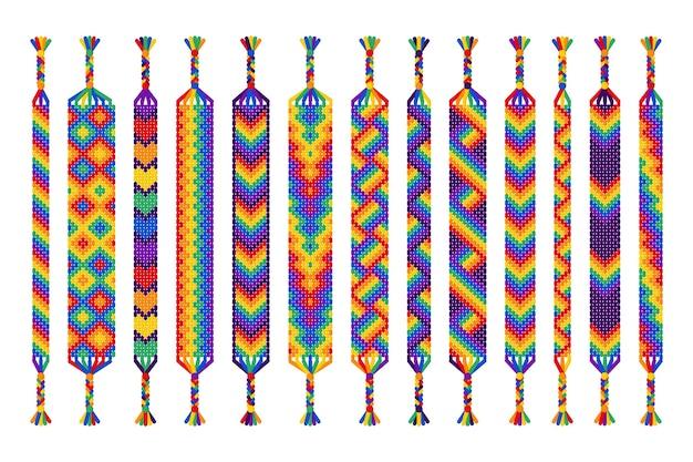 Zestaw ręcznie robionych bransoletek przyjaźni nici na białym tle. parada dumy, lgbt i wolna miłość.