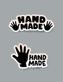 Zestaw ręcznie robionych naklejek, etykiet i odznak.