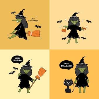 Zestaw ręcznie rysować halloween czarownica plakat.