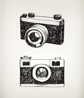 Zestaw ręcznie rysowane aparaty vintage na białym tle