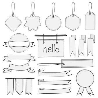 Zestaw ręcznie rysowane banery, etykiety, tagi i wstążki.