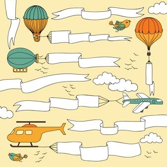 Zestaw ręcznie rysowane banery i wstążki prowadzone przez samoloty, balony na ogrzane powietrze i sterowiec