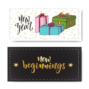 Zestaw ręcznie rysowane banery nowy rok. odręczne napis nowe początki