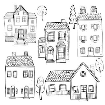 Zestaw ręcznie rysowane budynków