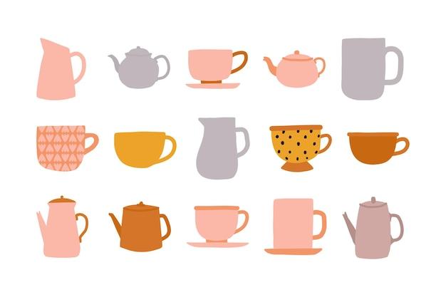 Zestaw ręcznie rysowane ceremonii parzenia herbaty ładny kolorowy czajnik czajnik i filiżanki