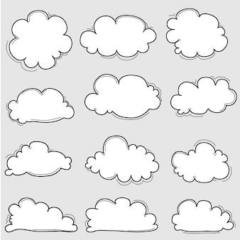 Zestaw ręcznie rysowane chmury
