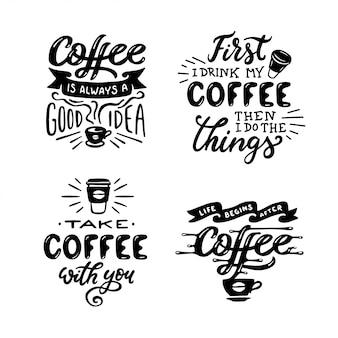 Zestaw ręcznie rysowane cytaty kawy