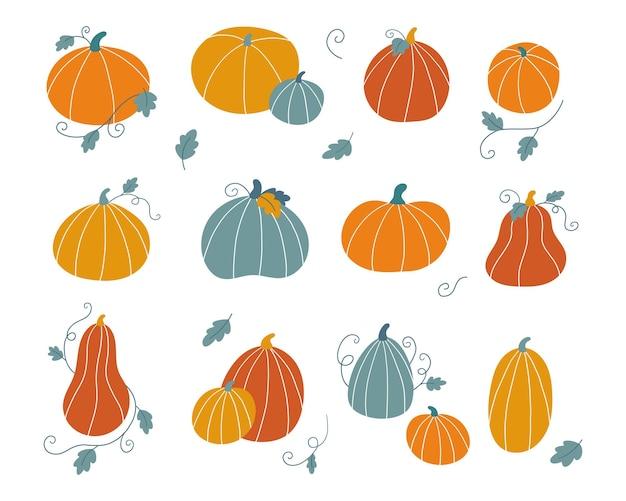 Zestaw ręcznie rysowane doodle dynie z liśćmi