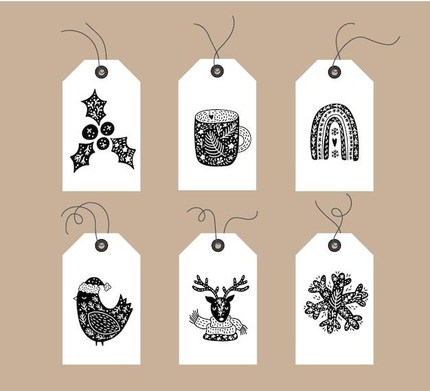 Zestaw ręcznie rysowane doodle skandynawskie znaczniki świąteczne