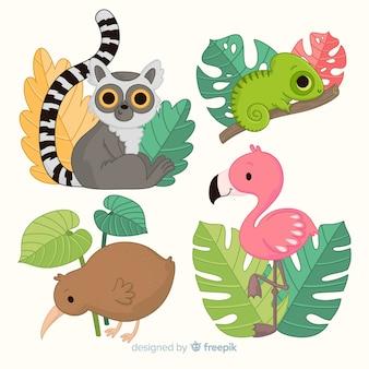 Zestaw ręcznie rysowane dzikich zwierząt