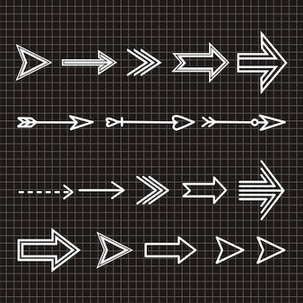 Zestaw ręcznie rysowane element projektu strzałki