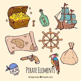 Zestaw ręcznie rysowane elementów pirackich