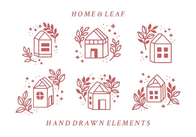 Zestaw ręcznie rysowane elementy domu i różowe logo kwiatowy