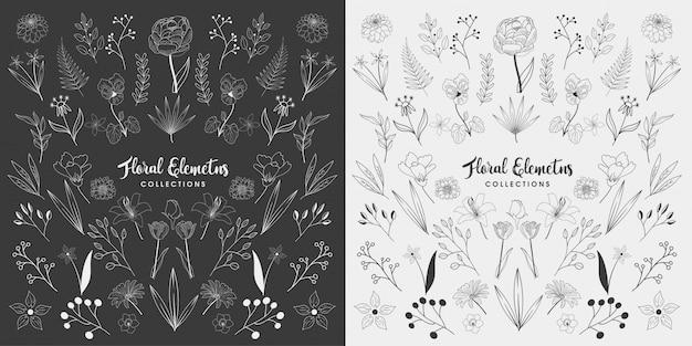 Zestaw ręcznie rysowane elementy kwiatowe