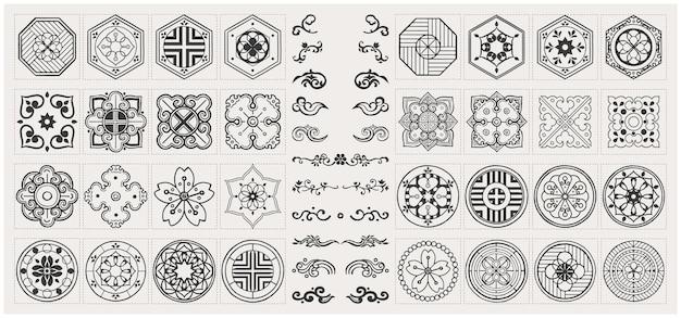 Zestaw ręcznie rysowane elementy orientalne. czarna mandala, azjatycki tradycyjny design.