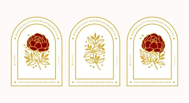 Zestaw ręcznie rysowane elementy rocznika złota piwonia botaniczna kwiat i liść gałąź