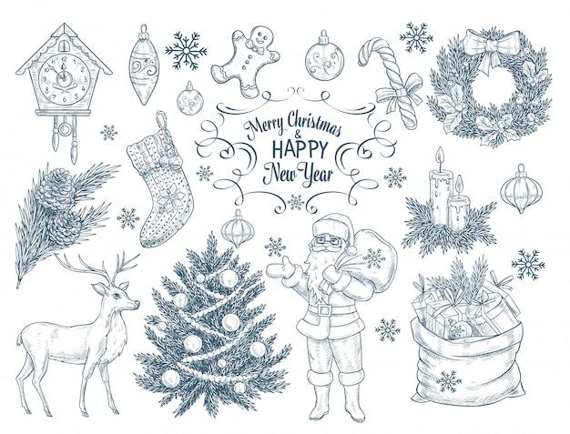Zestaw ręcznie rysowane elementy świąteczne.