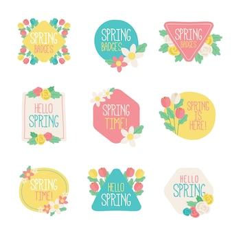 Zestaw ręcznie rysowane etykiety wiosenne