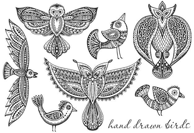 Zestaw ręcznie rysowane fantazyjne ptaki w stylu etnicznym kwiecisty doodle