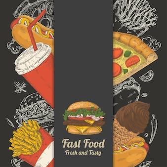 Zestaw Ręcznie Rysowane Fast Food Premium Wektorów