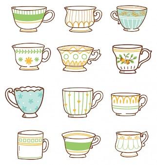Zestaw ręcznie rysowane filiżanki herbaty