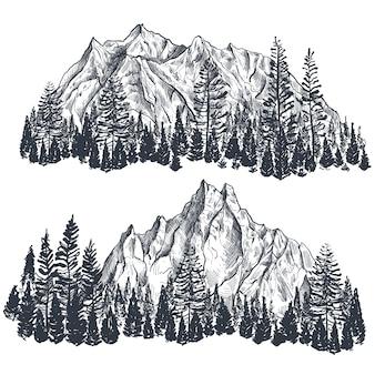 Zestaw ręcznie rysowane graficzne pasma górskie z lasem sosnowym krajobraz przyrody