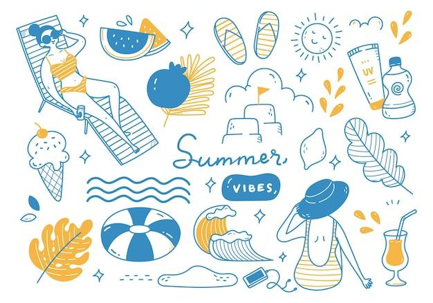 Zestaw ręcznie rysowane gryzmoły lato