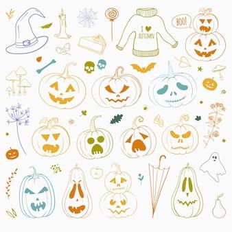 Zestaw ręcznie rysowane gryzmoły na halloween dziękczynienia i inne jesienne święta wektor doodles