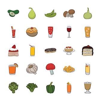 Zestaw ręcznie rysowane ikony żywności wektorów