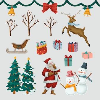 Zestaw ręcznie rysowane ilustracje świąteczne