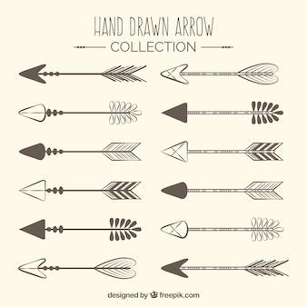 Zestaw ręcznie rysowane indyjskiego strzałki