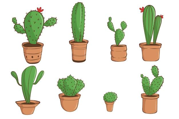 Zestaw ręcznie rysowane kaktus w białym tle.