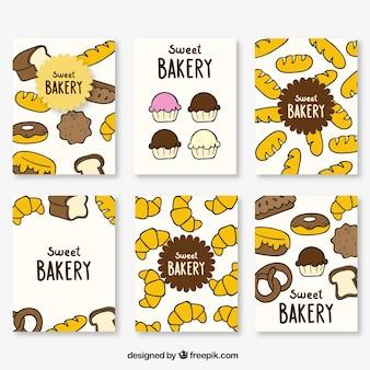 Zestaw ręcznie rysowane kart piekarniczych