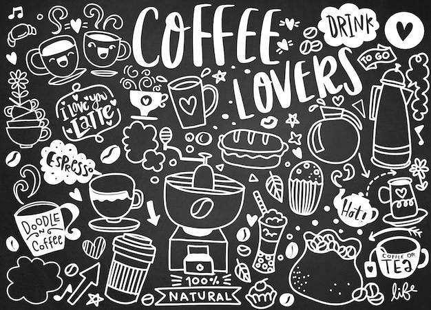 Zestaw ręcznie rysowane kawy i pyszne słodycze. ilustracji wektorowych