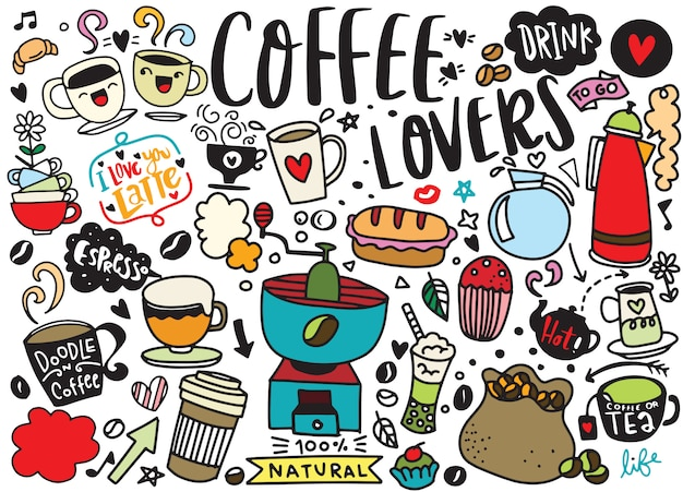 Zestaw ręcznie rysowane kawy i pyszne słodycze