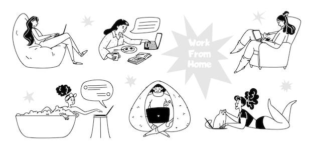 Zestaw ręcznie rysowane kobiet pracujących w domu. młode kobiety pracujące