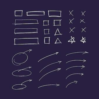 Zestaw ręcznie rysowane kolorowe strzałki i linie. elementy zakreślacza