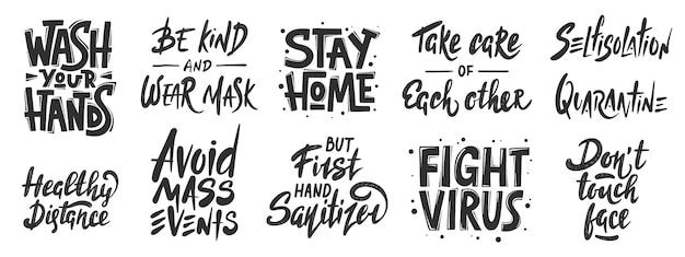 Zestaw ręcznie rysowane kwarantanny napis