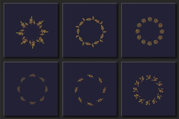 Zestaw ręcznie rysowane kwiatowy ramki wektor