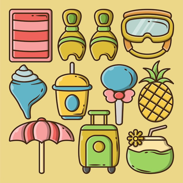 Zestaw ręcznie rysowane letni pakiet kreskówka doodle