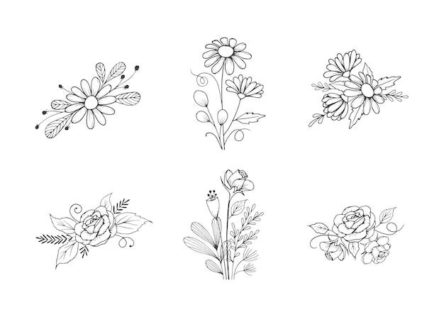 Zestaw ręcznie rysowane linii sztuki bukiet kwiatów