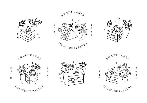 Zestaw ręcznie rysowane logo ciasta, ciasta i piekarnia