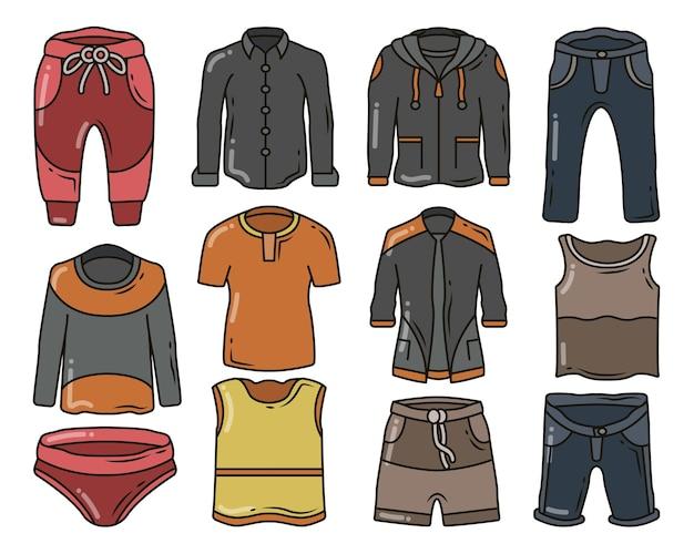 Zestaw ręcznie rysowane mężczyzn ubrania i spodnie kreskówka doodle projekt