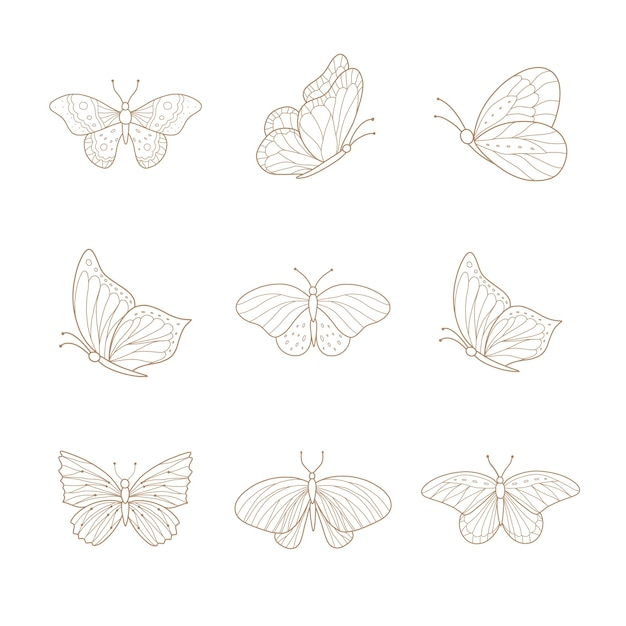 Zestaw ręcznie rysowane motyli.