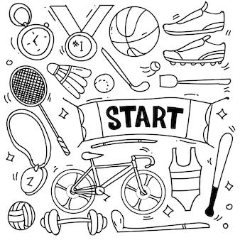 Zestaw ręcznie rysowane motywu sportowego na białym tle doodle zestaw motywu sportowego