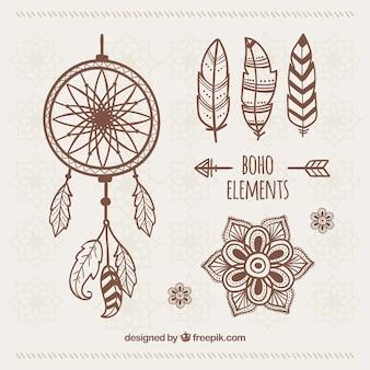 Zestaw ręcznie rysowane ozdoby etnicznych